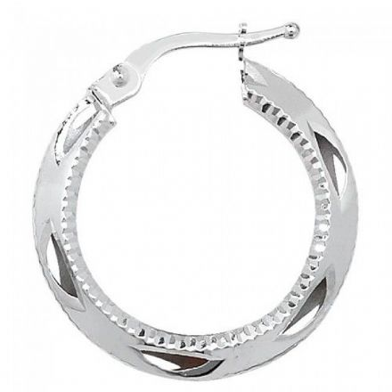 Just Gold Earrings -9Ct Dia Cut Hoop Earrings, ER655W